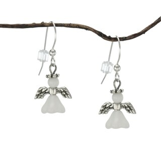 Handmade Jewelry by Dawn Sterling Silver And Pewter Angel Earrings (USA)