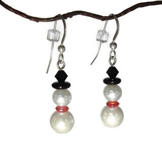 Jewelry by Dawn Glass Pearl Snowman Earrings