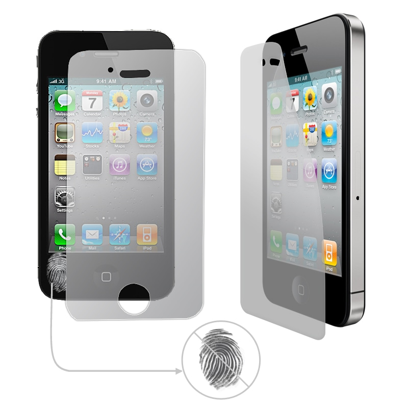 Professional Anti-Fingerprint Screen Protector for the Apple iPhone 4 / 4S (Pack of 2)