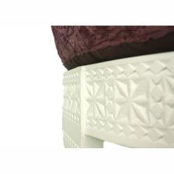 Handmade Chakki White-Finish Plum Ottoman - Thumbnail 1