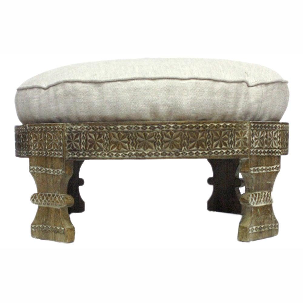 nuLOOM Handmade Chakki Ivory Ottoman