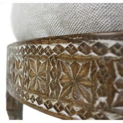 nuLOOM Handmade Chakki Ivory Ottoman - Thumbnail 1