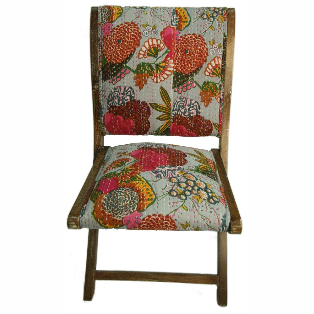 nuLOOM Handmade Bombay Floral Grey Upholstered Folding Chair