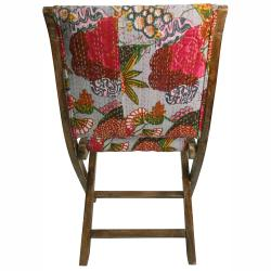 nuLOOM Handmade Bombay Floral Grey Upholstered Folding Chair - Thumbnail 1