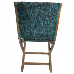 nuLOOM Handmade Bombay Turquoise Sari Silk Folding Chair