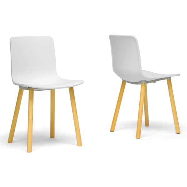 Lyle White Plastic Modern Dining Chairs (Set of 2)