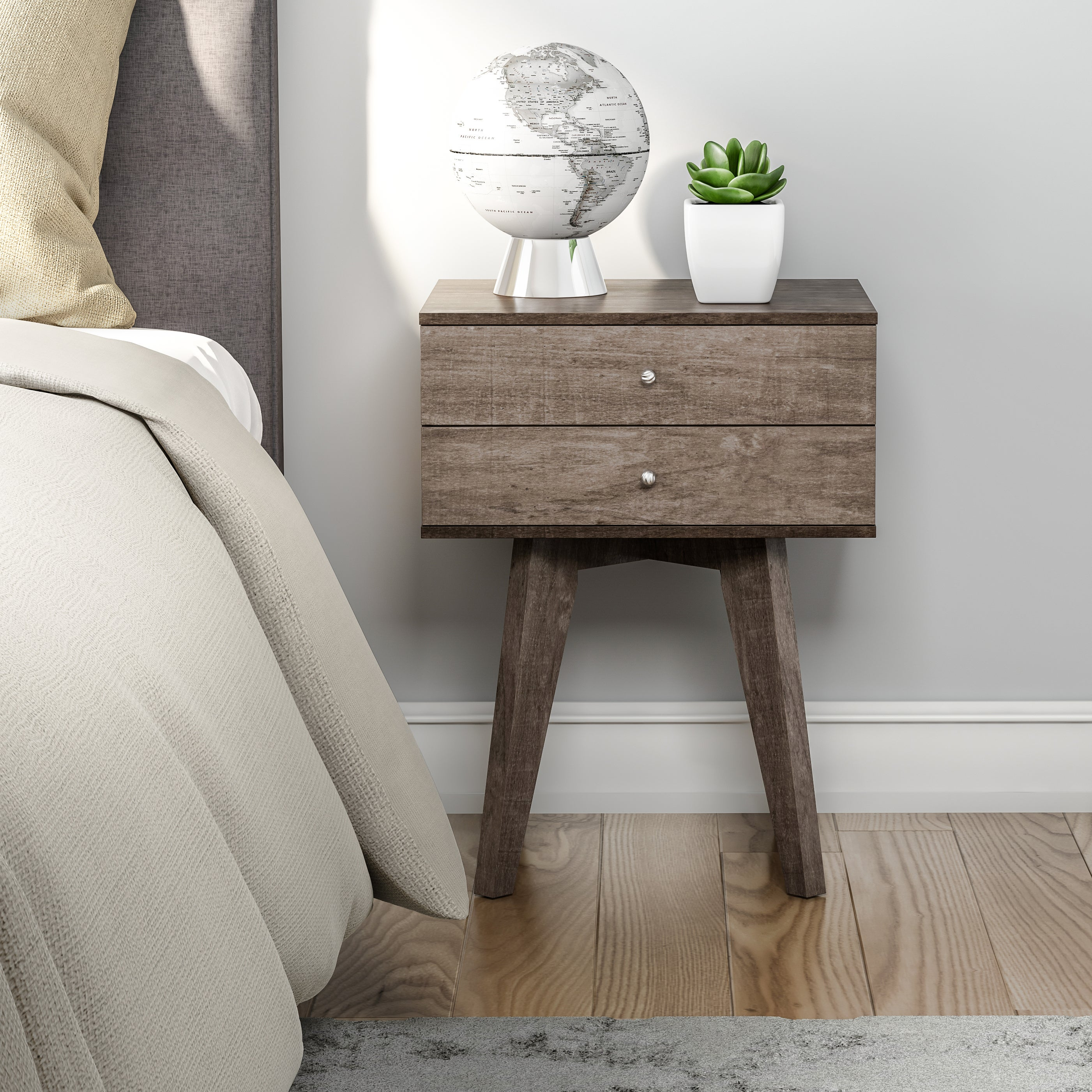 Beau Details About Small Bedside Table 2 Drawer Accent Wood Midcentury Modern  Nightstand Low