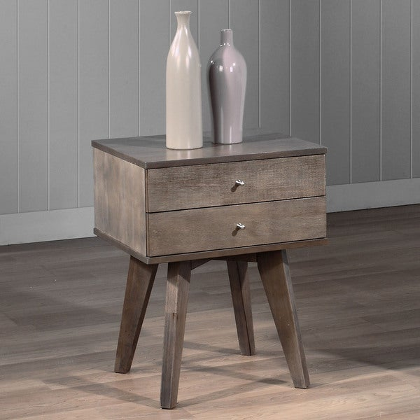 Jones Two Drawer Light Charcoal Nightstand Free Shipping