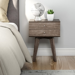 Carson Carrington Jones Two-drawer Light Charcoal Nightstand