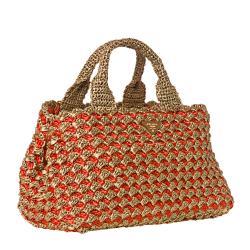 Prada Honey/ Orange Bi-Color Raffia Tote Bag - Thumbnail 1