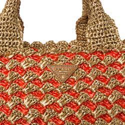 Prada Honey/ Orange Bi-Color Raffia Tote Bag - Thumbnail 2