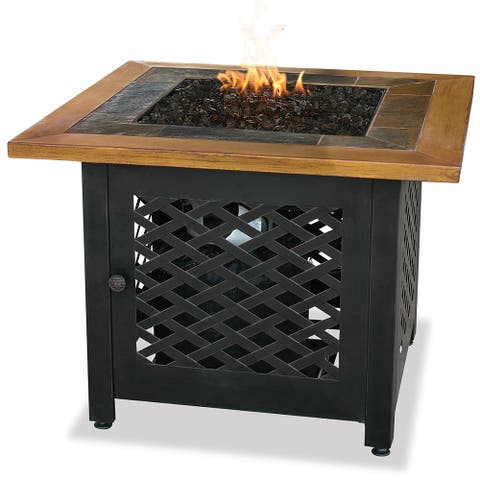 Endless Summer LP Gas Outdoor Fire Pit with Slate and Faux Wood Mantel