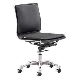 Lider Plus Armless Black Office Chair - 23L x 23W x 36.6-40H