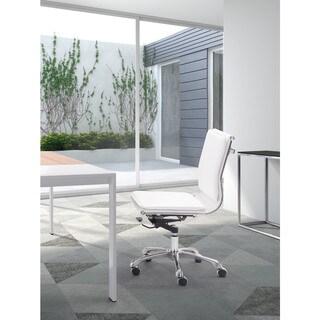 Lider Plus Armless White Office Chair - 23L x 23W x 36.6-40H