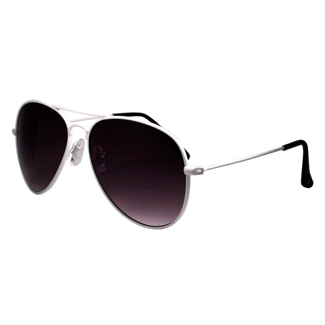Hotties Women's White Metal Aviator Sunglasses