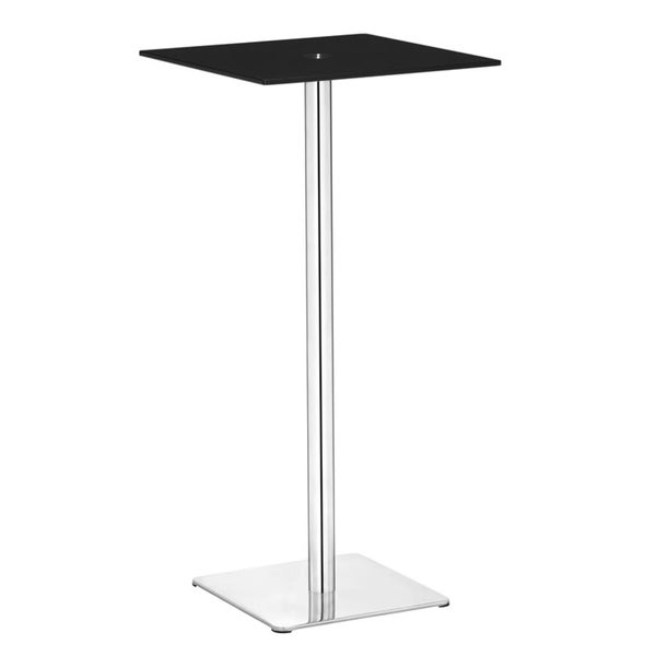 Dimensional Black Glass and Chromed Steel Bar Table