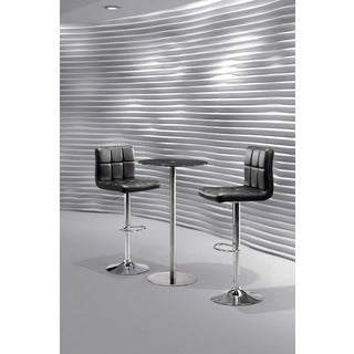 Cyclone Black Glass and Chromed Steel Bar Table