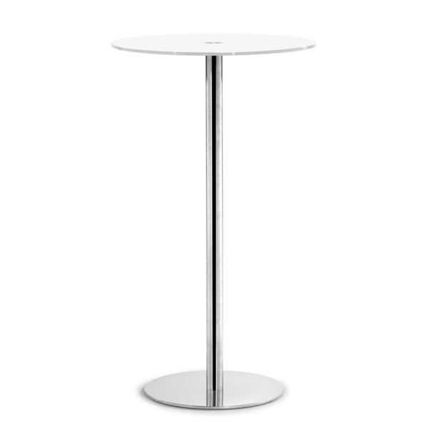 Cyclone White Glass and Steel Bar Table