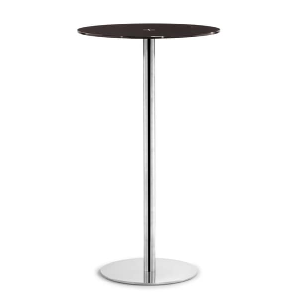 Cyclone Espresso Glass and Chromed Steel Bar Table