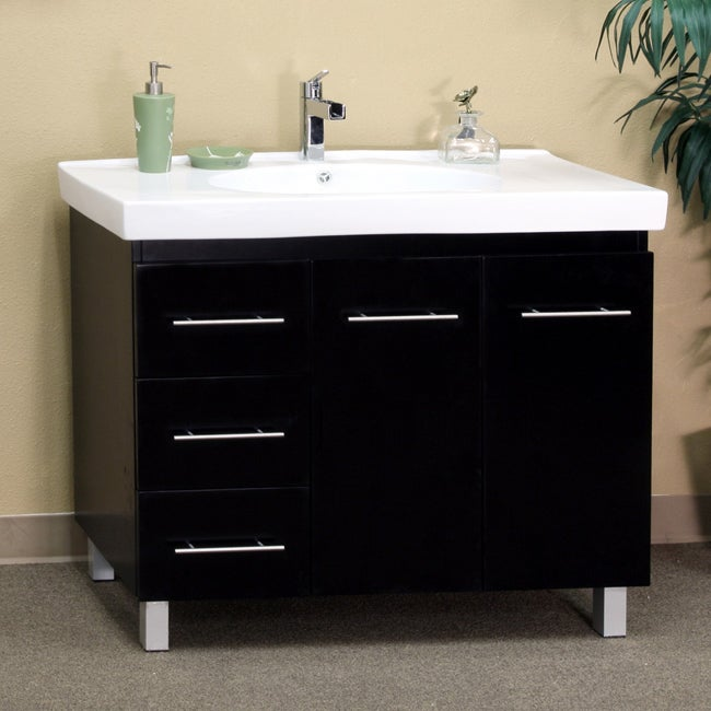 Black Wood  Inch Single Sink Vanity With Left Side Drawers