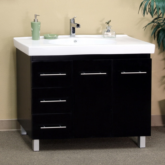 Black Wood 39 Inch Single Sink Vanity With Left Side Drawers Free Shipping