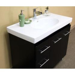 Black Wood 39 Inch Single Sink Vanity With Left Side Drawers Free Shipping Today Overstock