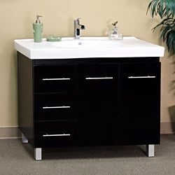 Black Wood 39-inch Single Sink Vanity with Left Side Drawers
