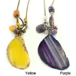 Colored Stone Slice Pendant Necklace