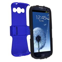 Black/ Blue Hybrid Case for Samsung Galaxy S III/ S3 i9300 - Thumbnail 2