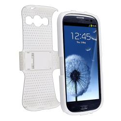 INSTEN White/ White Hybrid Phone Case Cover for Samsung Galaxy S III/ S3 i9300