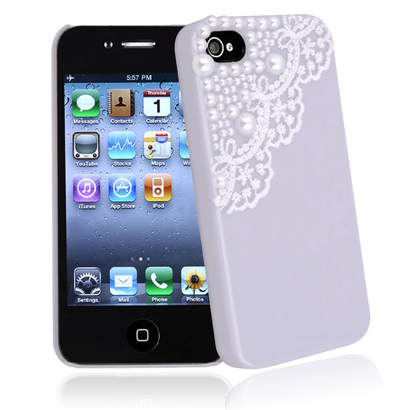 Purple with Lace and Pearl Snap-on Case for Apple iPhone 4/ 4S - Thumbnail 0