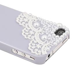 Purple with Lace and Pearl Snap-on Case for Apple iPhone 4/ 4S - Thumbnail 2