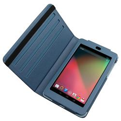 Navy-blue Synthetic-leather Protective Swivel Case for Google Nexus 7 - Thumbnail 1