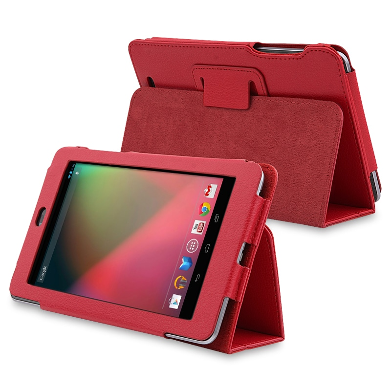 INSTEN Red Leather Phone Case Cover with Stand for Google Nexus 7