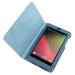 Navy Blue Leather Case with Stand for Google Nexus 7 - Thumbnail 1