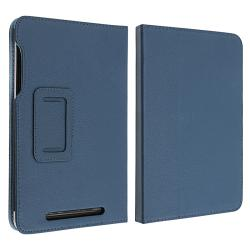 Navy Blue Leather Case with Stand for Google Nexus 7 - Thumbnail 2