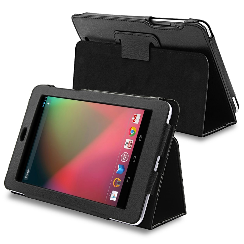 INSTEN Black Leather Phone Case Cover with Stand for Google Nexus 7