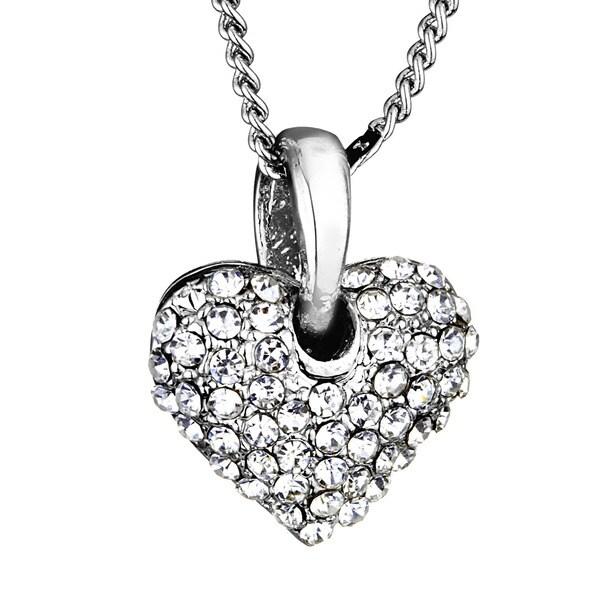 Silvertone Crystal Heart Pendant Necklace