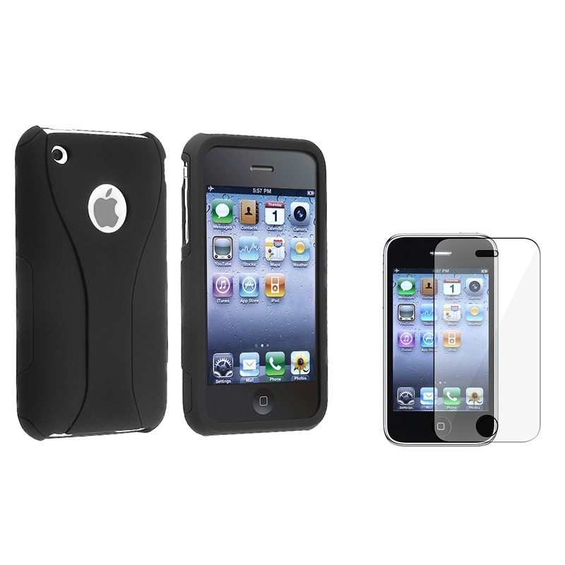 INSTEN Black/ Black Cup Shape Phone Case Cover/ Screen Protector for Apple iPhone 3G/ 3GS