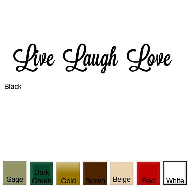 'Live, Laugh, Love' Vinyl Wall Art Decal (Red), Size Small