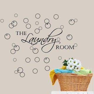 Decal the Walls Laundry Room with Bubbles Vinyl Wall Art Decal (Option: White)