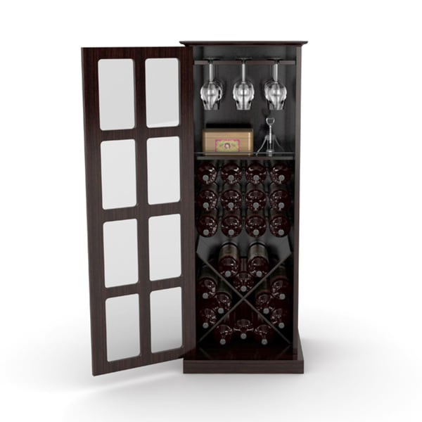 2a44de23bf2a Shop DarLiving Atlantic Espresso Windowpane 24-bottle Wine Cabinet ...