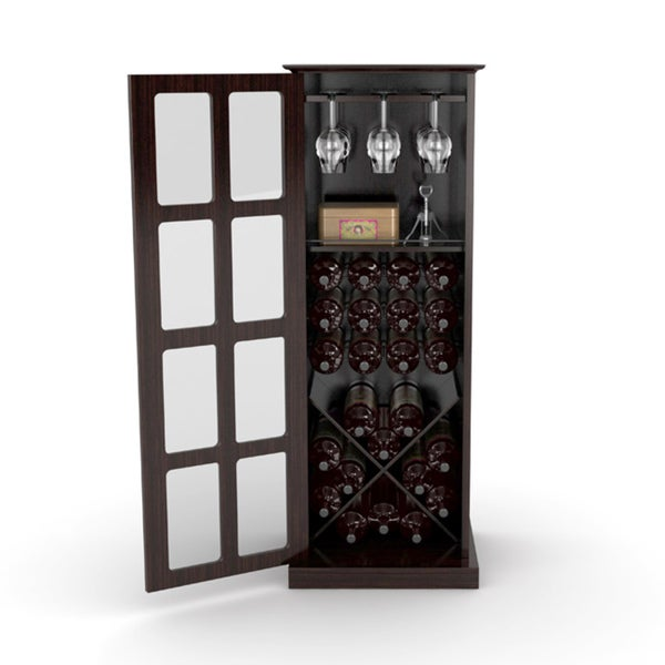 DarLiving Espresso Windowpane 24-bottle Wine Cabinet