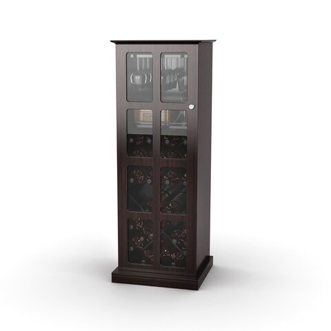 DarLiving Atlantic Espresso Windowpane 24-bottle Wine Cabinet