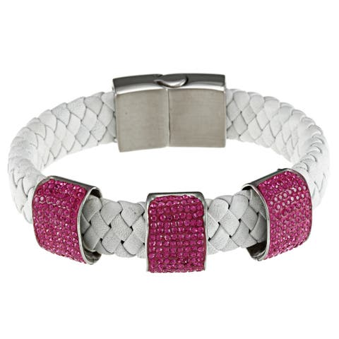 La Preciosa Leather Stainless Steel and Crystal Charm Bracelet