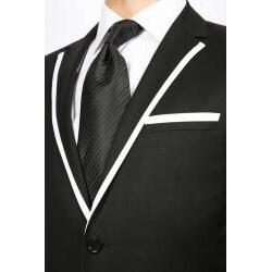 Ferrecci Men's Black with White Trim 2-button Slim-fit 2-piece Suit
