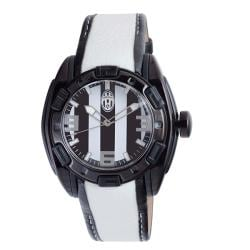 Juventus Men's Leather Strap Black and White Dial Watch
