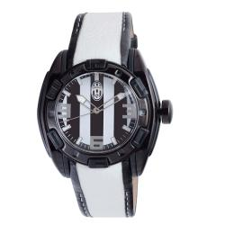 Shop Juventus Men S Leather Strap Black And White Dial Watch Overstock 7018298