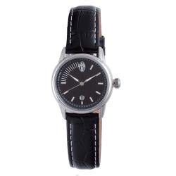 Juventus Women's Black Dial Leather Strap Watch