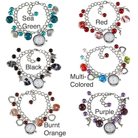 La Preciosa Silvertone Beads and Watch Charm Bracelet